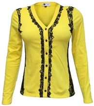 Women\'s Lace Overlay Knitted Shirt