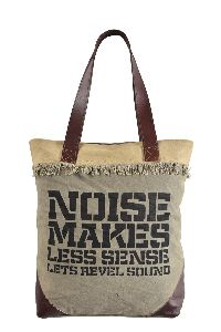 Leather Handle Shopping Canvas Tote Bag