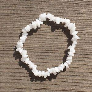 White Agate Stone Crystal Chips Beads Bracelet