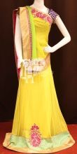 Wishful Yellow Half Net Chiffon Embroidery Designer Saree Bollywood Replicas