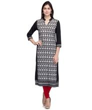 Laabha Women Crepe Black And White Printed Paneled Kurti