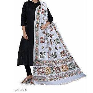 Ladies White Mirror Work Cotton Dupatta