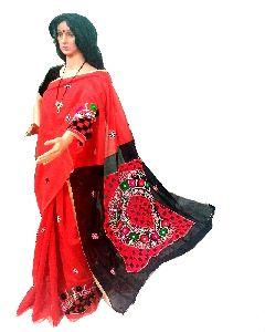 Embroidered Cotton Silk Saree