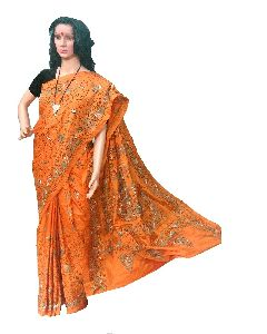 Orange Kantha Stitch Art Silk Saree