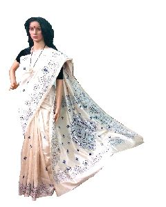 White Kantha Stitch Art Silk Saree