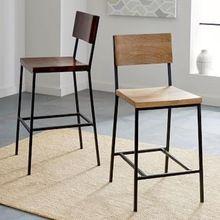 Modern Iron Base Wooden Living Room Chair