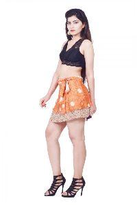 Silk Short Wrap Skirt