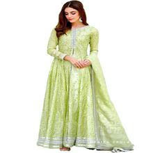 Embroidery Green Chanderi Silk Anarkali Salwar Kameez