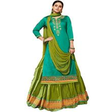 Green Red Cotton Lehenga Salwar Kameez Partywear
