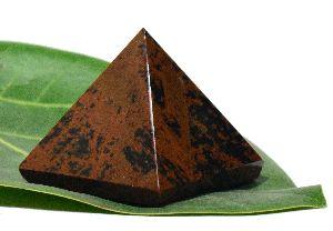 Mahogany Obsidian Stone Pyramid