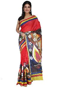 Hand Painted Cotton Handloom Saree With Golden Zari Border