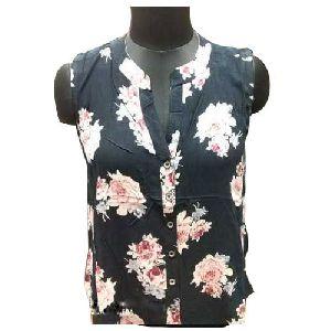 Ladies Floral Print Sleeveless Shirts