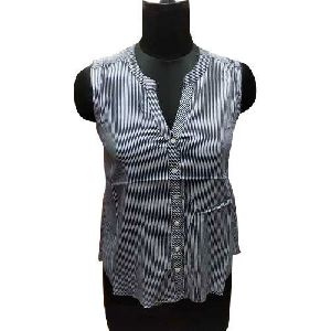 Ladies Striped Sleeveless Shirts