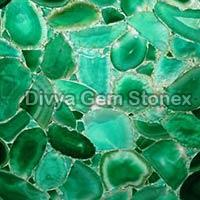 Green Agate Stone Slabs Backlit View