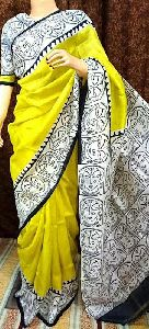 Finest Handpainted Pure Silk Saree Exude Simple And Unique Appearance
