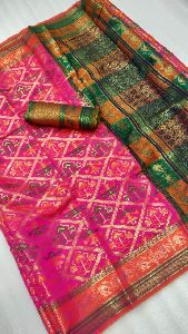 Patola Soft Cotton Silk Saree With Contrast Blouse