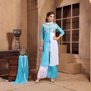 Embroidered Georgette Kurti And Palazzo Set