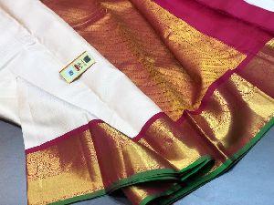 Rich Pallu Handloom Kancheepuram Korvai Border Soft Silk Saree