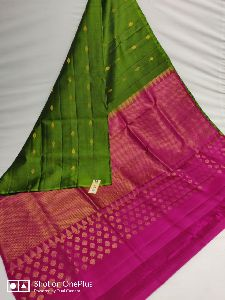 Pure Handloom Double Warp Kanchipuram Silk Pallu Colour Plain Blouse