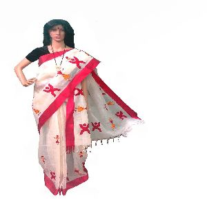 Pure Cotton Saree With Red Border