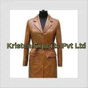 Women Leather Long Coat