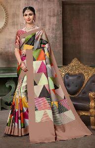 Multi Color Khadi Silk 6 Meter Saree Blouse