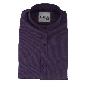 Mens Purple Chinese Collar Shirt