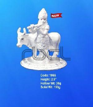 1066 Sterling Silver Cow Krishna Statue