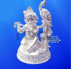 1106 Sterling Silver Makhan Chor Statue