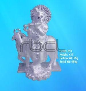 213 Sterling Silver Cow Krishna Statue