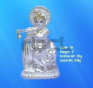 39 Sterling Silver Cow Krishna Statue