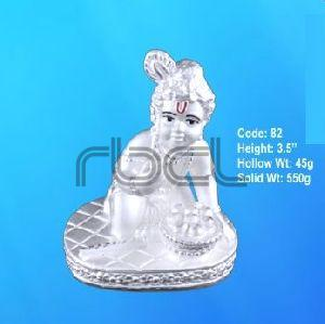 82 Sterling Silver Makhan Chor Statue