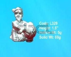 L329 Sterling Silver Makhan Chor Statue