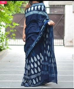DABU AJRAKH PRINTED COTTON SAREE