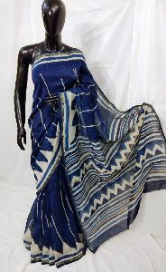 Dabu Hand Printed Chanderi Saree