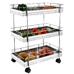 3 Layer perforated vegetables and fruits trolley