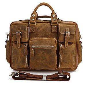Multi Pocket Leather Briefcase Messenger Bag