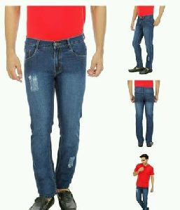 Mens Mildly Distressed Solid Jeans