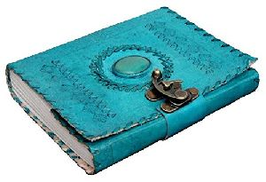 Handmade Leather Diary Journal with C Lock 7 Inches for Offices Home Daily Use (Ocean Blue)