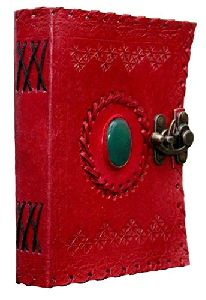 Handmade green stone embossed red leather diary