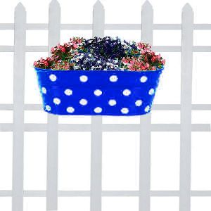 double hook dotted Oval railing planters (blue)