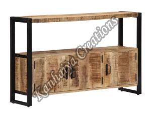 47.2x11.8x29.5 Inch Solid Mango Wood and Powder Coated Steel Storage Cabinet