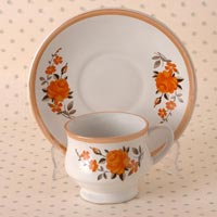 Stoneware Super Flower Cups And Saucers