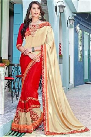 Cream & Red Party Wear Sarees