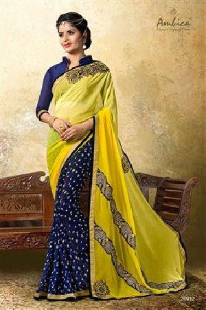 Yellow & Blue Casual Wear Chiffon Sarees