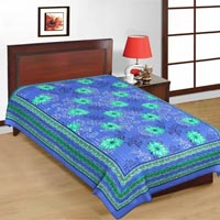 Blue Floral Print Single Bed Sheet