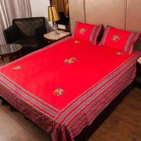 Jaipuri  Yellow Traditional Patch Work Embroidered Double Bed Sheet