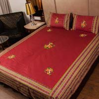 Maroon Embroidered Double Bed Sheet