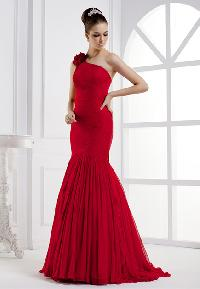 China One Shoulder Mermaid Silk Long Evening Dress