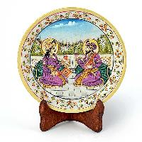 Mumtaj Shahjahan Gold Meenakari Marble Painting